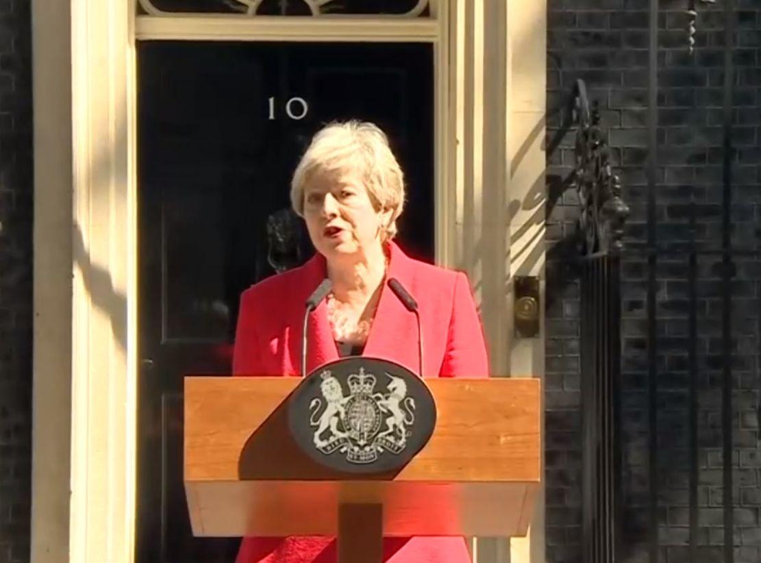 英國首相文翠珊宣布將於6月7日下台。網圖