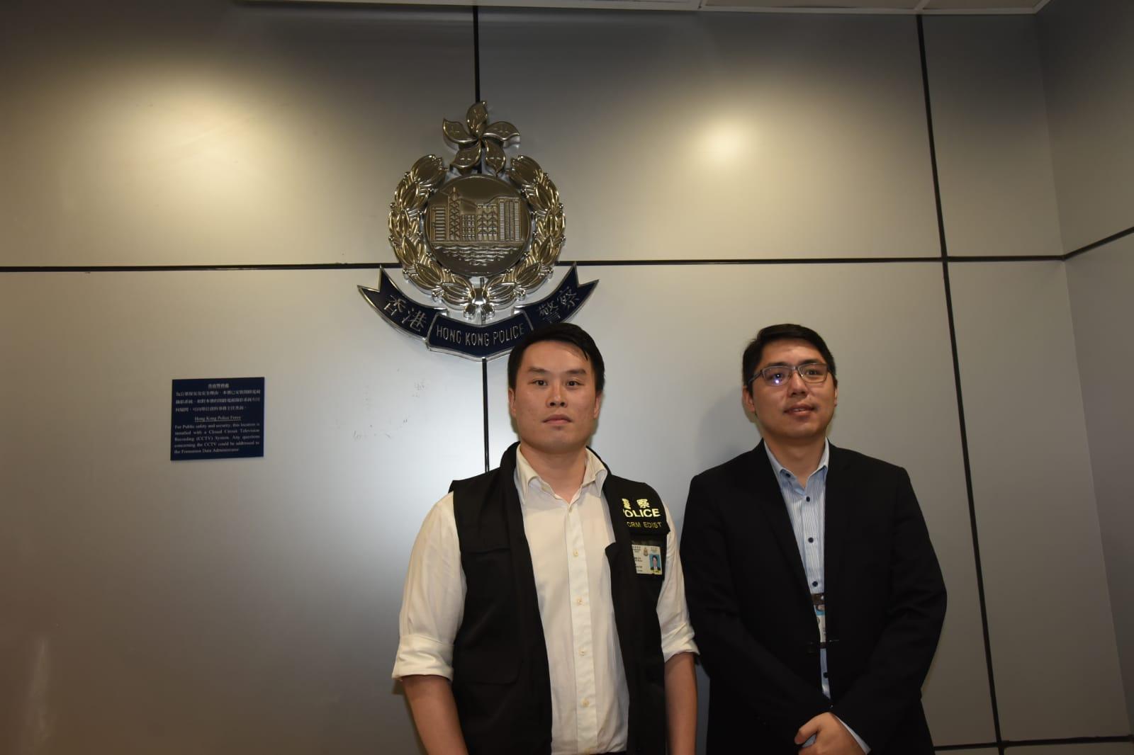 重案組第一隊主管偵緝督察吳嘉倫(左)及商業罪案調查科情報組高級督察林子皓(右)。