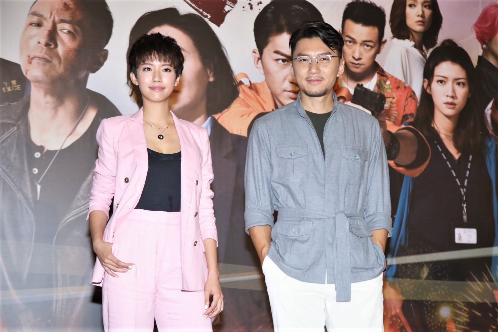 蔡思貝與袁偉豪出席《鐵探》慶功宴。