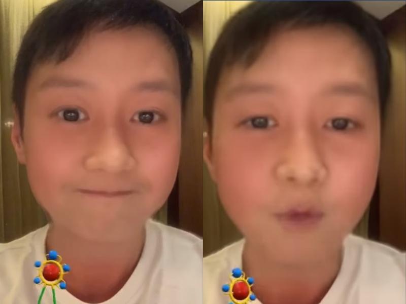 黎明以童顏apps化身「小明」,拍了一條只有5秒的短片。 黎明 Leon Lai FB圖片