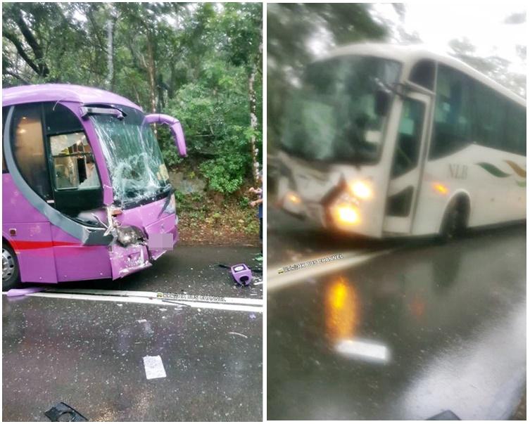 兩車迎頭相撞,車頭損毀。(fb巴士台 HK Bus Channel圖片)