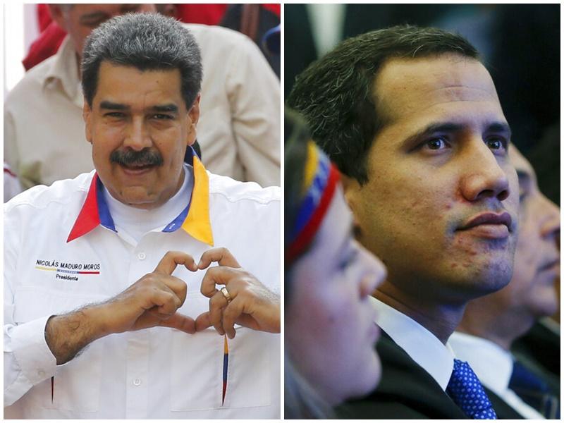 马杜罗(左)、瓜伊多(右)。