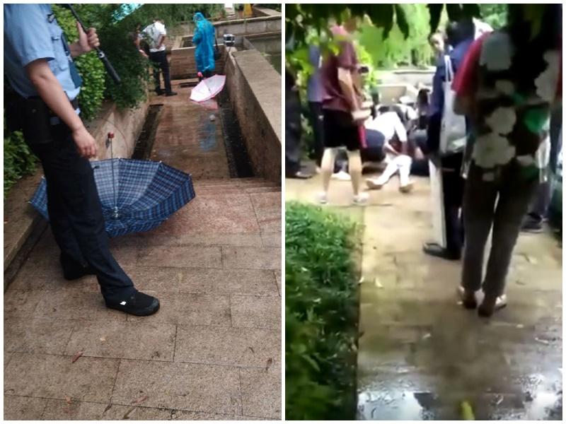 有人在現場搶救女童(右),警方事後到場調查(左)。網圖