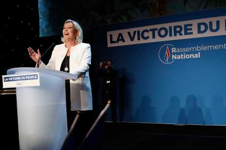 由瑪琳雷朋領導的法國極右派政黨國民聯盟有望取得24%選票領先。AP