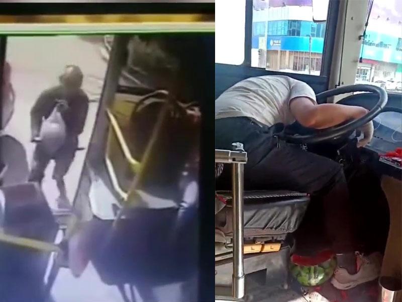 涉事乘客拿着一個大西瓜跑上巴士(左圖),將巴士司機打暈,西瓜一地都是(右圖)。(網圖)
