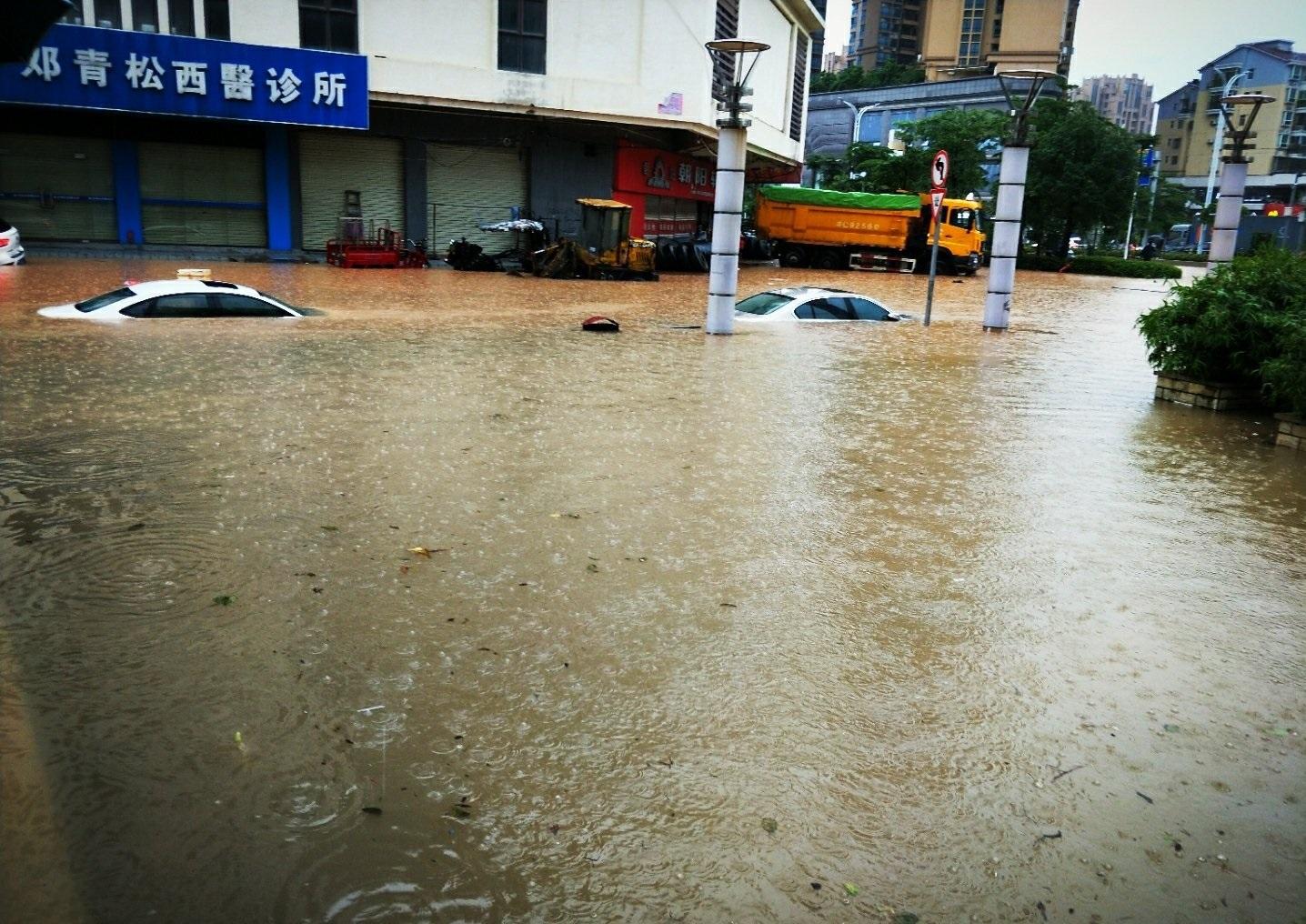 珠海市内嚴重水浸。網上圖片