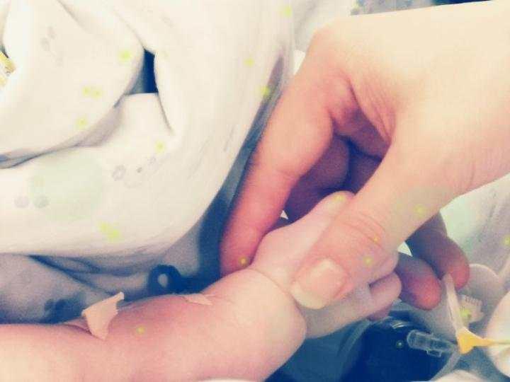 小毛豆和爸爸第一次也是唯一的一次牽手。網上圖片