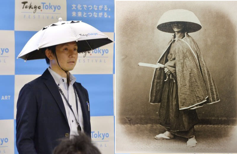 东京上周五在记者会上,公布正在试製「太阳伞帽」派发,网民表示像古代武士的「三度笠」。(网图)