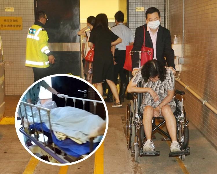 死者家人前往殮房認屍,一名女親友非常悲痛,更需要他人推輪椅離開。