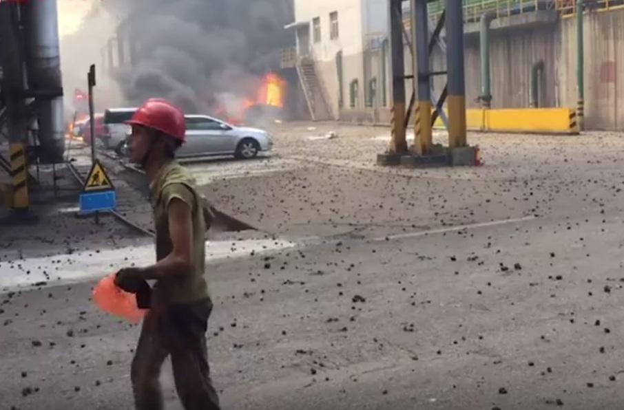 江西南昌有煉鋼廠高爐起火爆炸。網上圖片