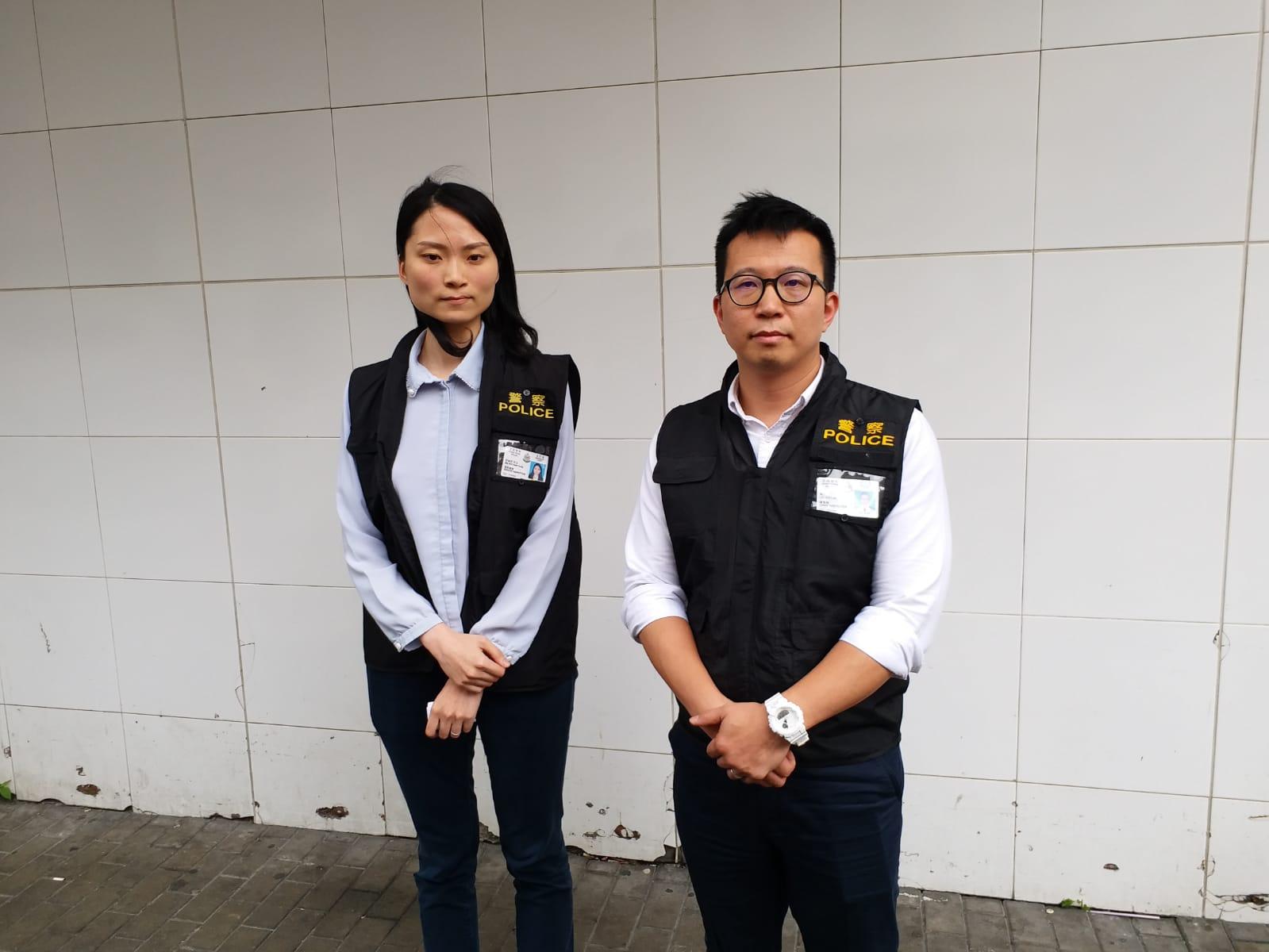 秀茂坪警區刑事總督察梁立(右)及重案組督察許涵芳(左)。