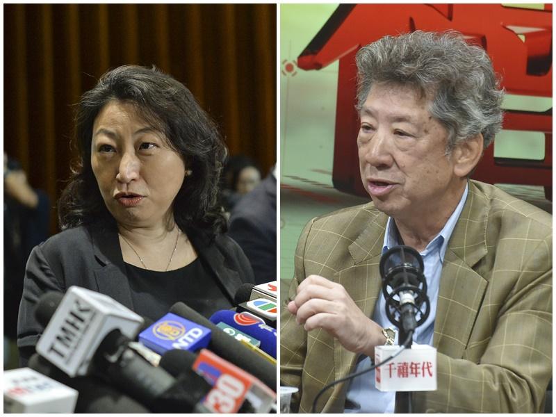 湯家驊(右)指暫未見到鄭若驊(左)有利益衝突。資料圖片