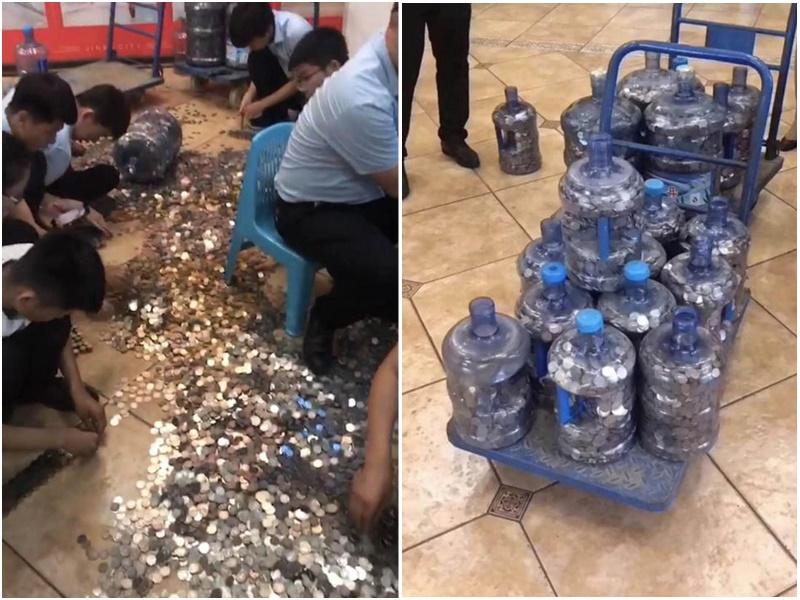 濟南一名男子拉15萬元硬幣買樓。網上圖片