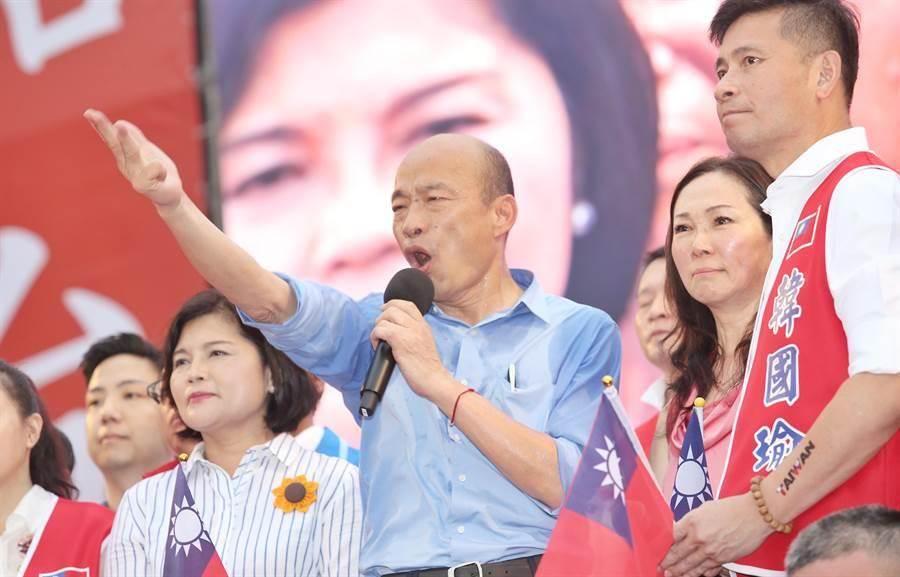 韓國瑜昨日出席初選造勢大會。網圖
