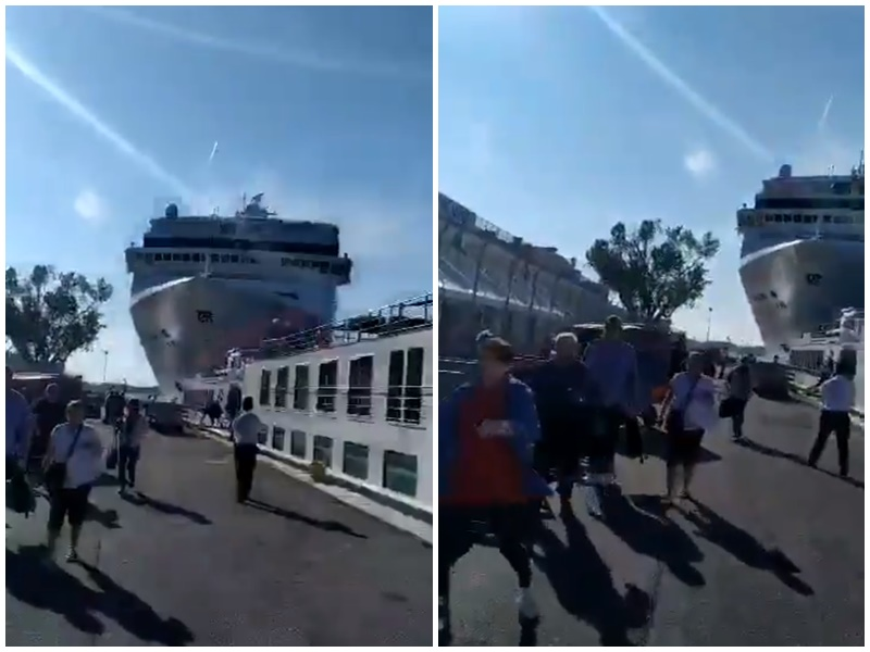 民众见邮轮撞向码头急忙走避。Twitter影片截图