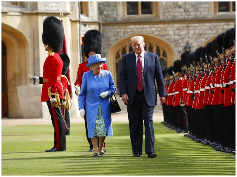 特朗普去年也曾與英女皇會面。AP