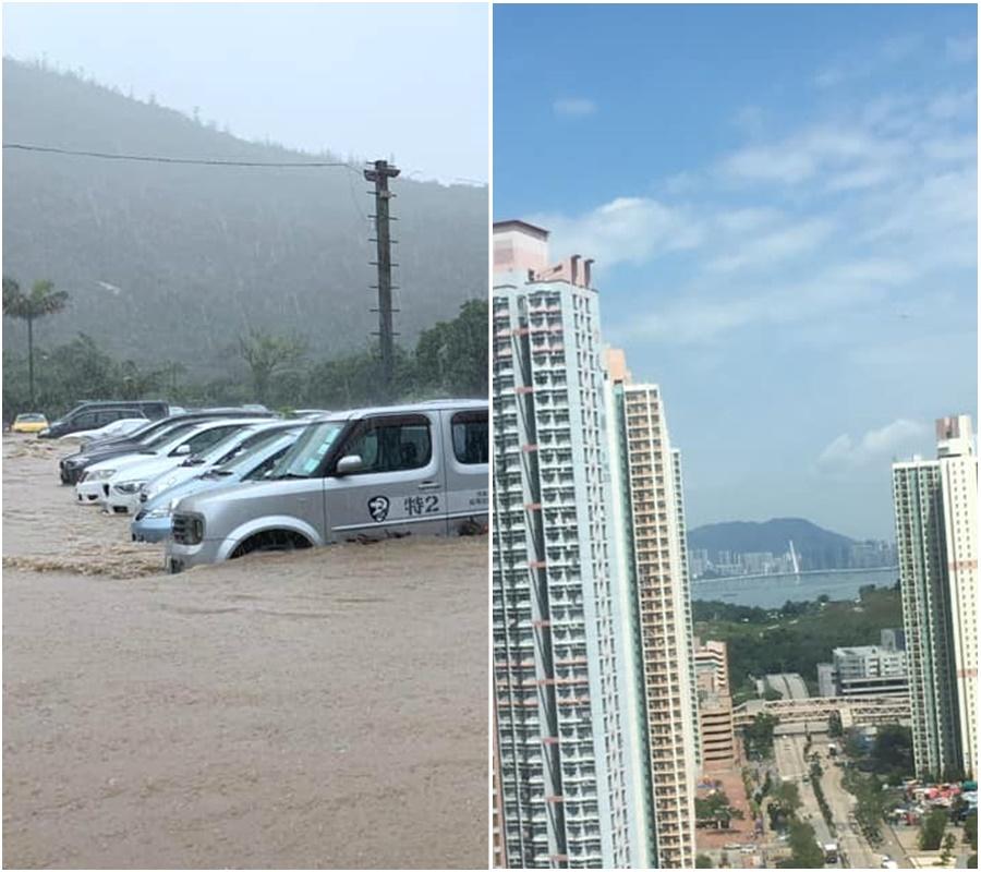 港岛东大雨滂沱;新界西阳光普照。网上图片