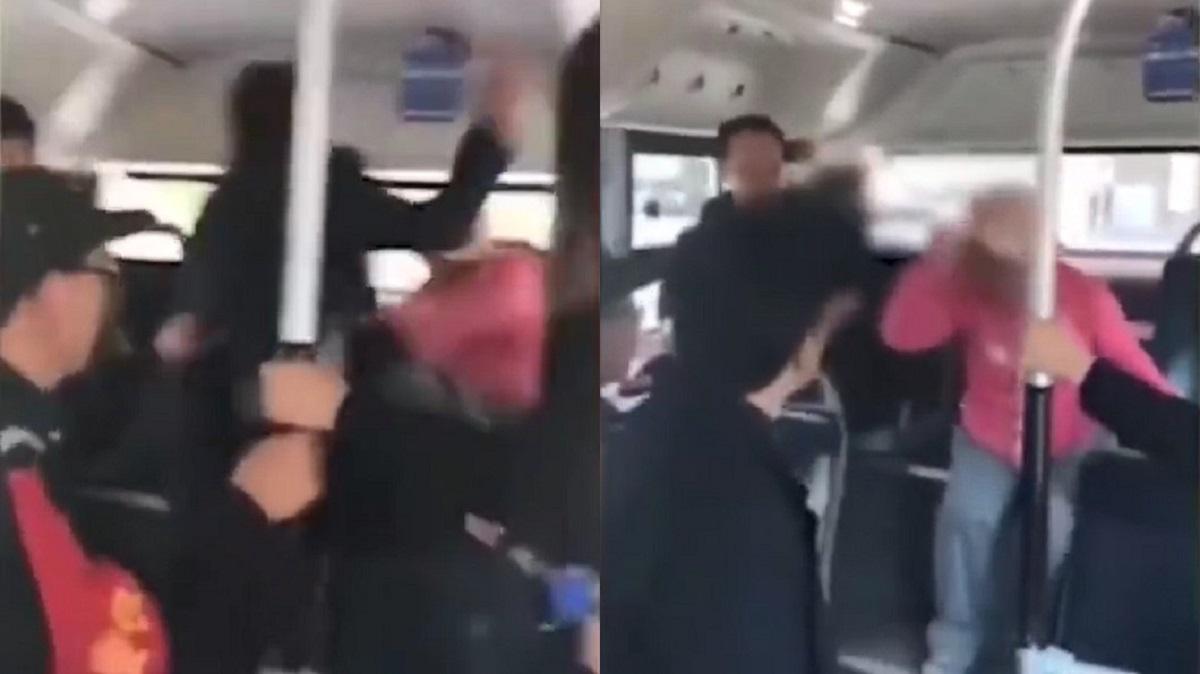 北京大媽踩到人還出言挑釁,遭男乘客怒摑十幾巴。網上圖片