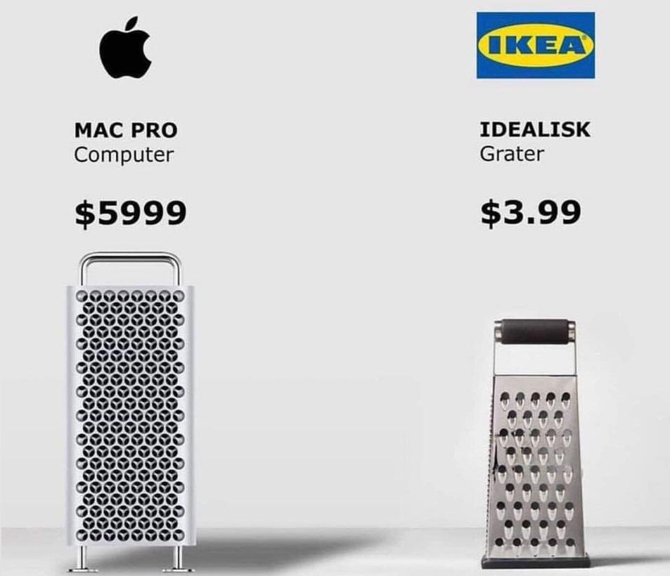 全新一款的 Mac Pro被指外型像刨食物的刨磨器。網上圖片