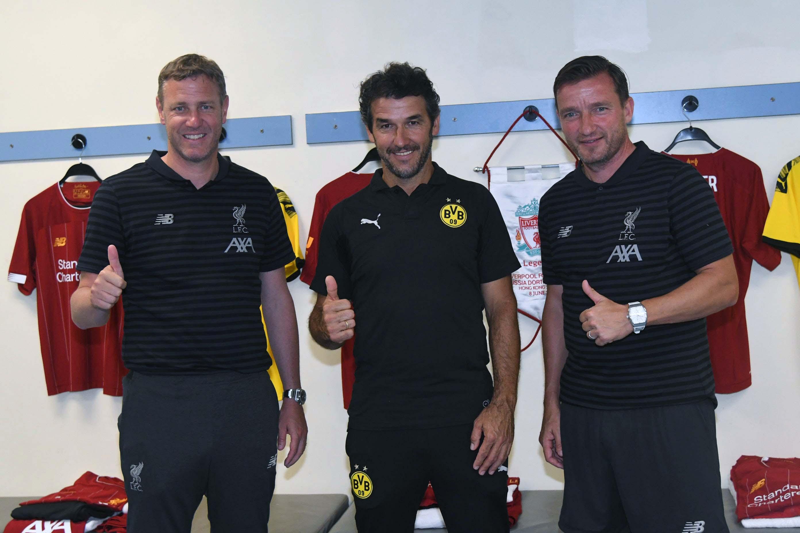 (左起)軒索斯、列度及史米沙均大讚高普讓利物浦脫胎換骨。郭晉朗攝