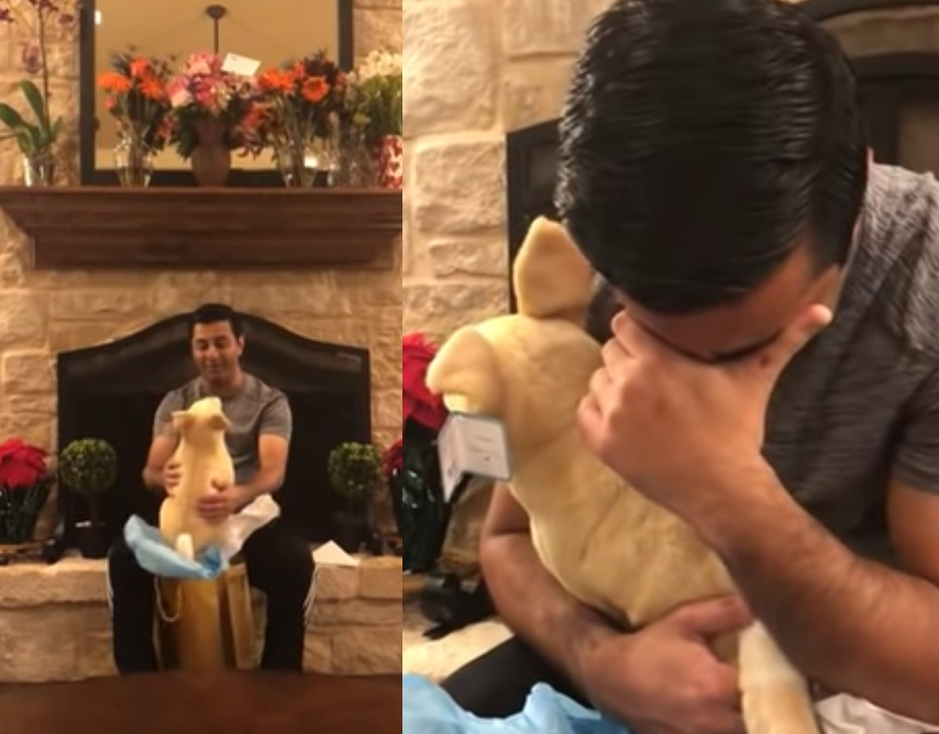 丈夫打開禮物後淚崩。網圖