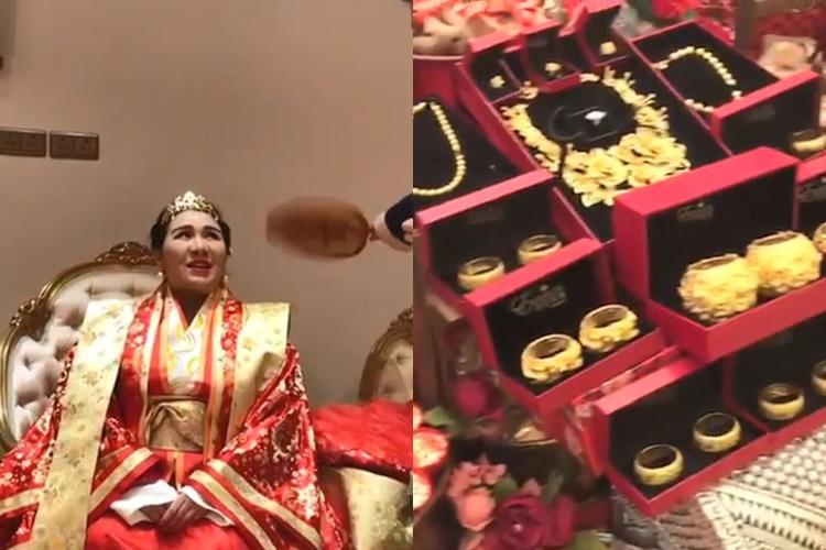 何超盈裝扮似皇室,金銀珠寶聘禮超誇。(截圖)