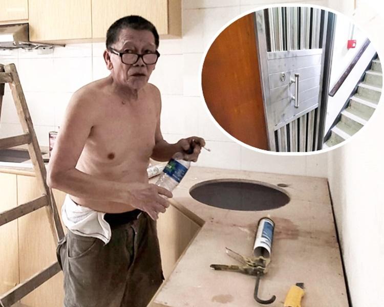 吴先生听到警方大喊「咪郁」。小图为疑犯逃亡期间曾进入其中一个单位躲避。