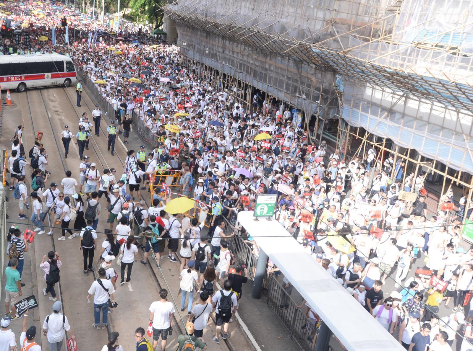 江永祥表示,銅鑼灣有大量街站,導致遊行的進度緩慢。
