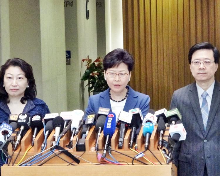 林郑月娥对冲击立法会行为表示强烈及极度遗憾。