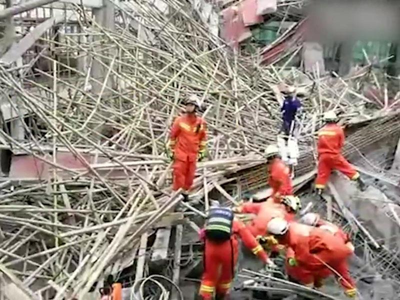 貴州畢節七星關區碧陽街道一個施工地盤發生支架垮塌。(網圖)