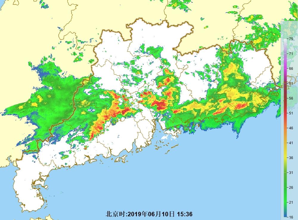 廣東西部的雷雨區正逐漸東移。廣州氣象台