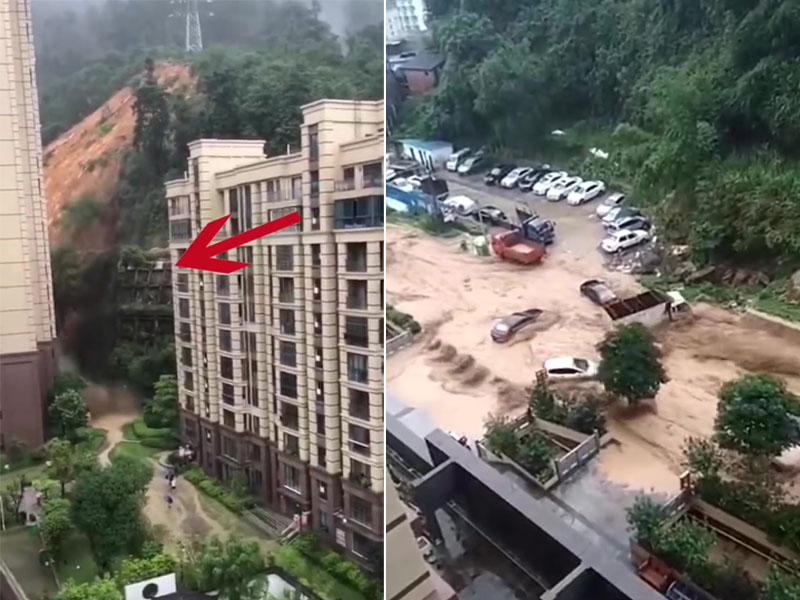 暴雨引發山泥傾瀉,多輛汽車被洪水沖走。(網圖)