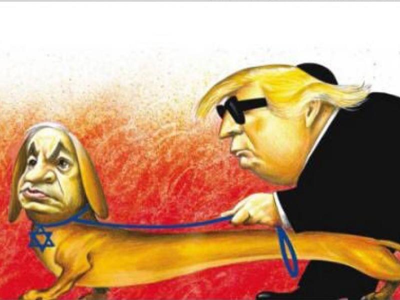 《纽约时报》一幅丑化以色列总理内塔尼亚胡的漫画,引起反犹太争议。  网上图片