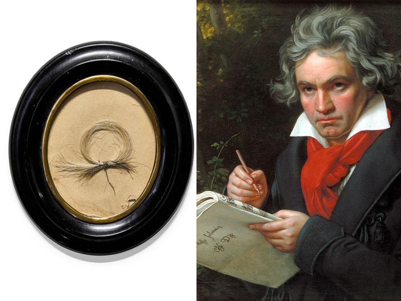 贝多芬一缕头髮被公开拍卖,价格或超过1.5万英镑。(网图)