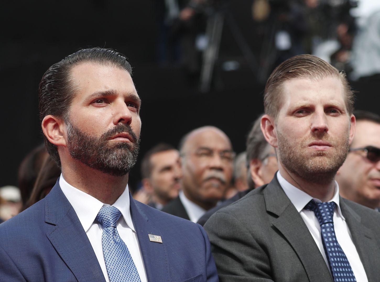 特朗普的長子唐納德(左)出席參議院情報委員會的閉門聽證會。AP