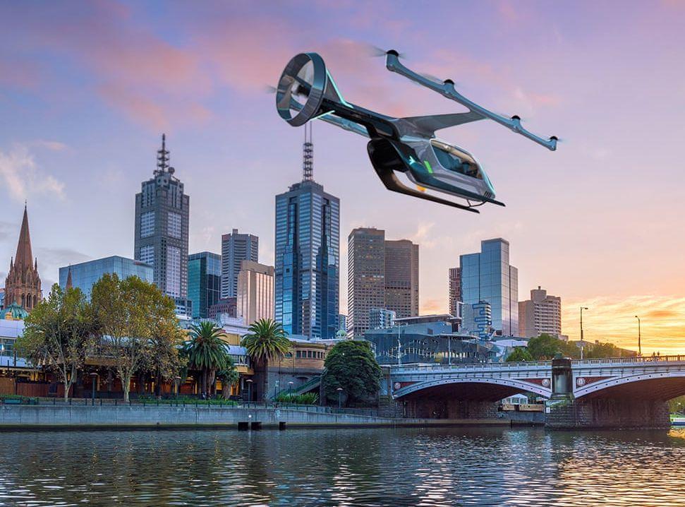 Uber決定在澳洲墨爾本試驗「飛行的士」。網圖