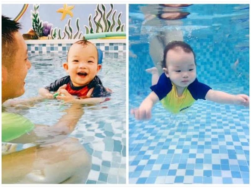 1岁BB入水能游。网图