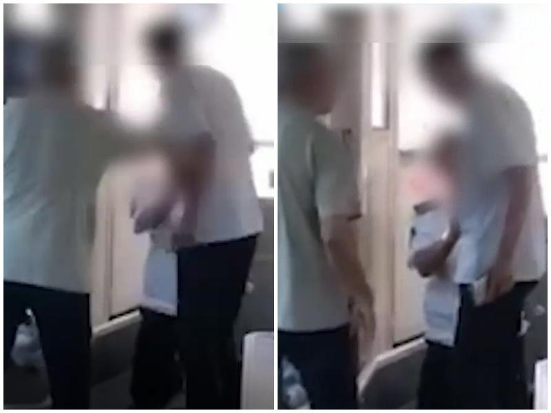 司機跪地道歉。影片截圖