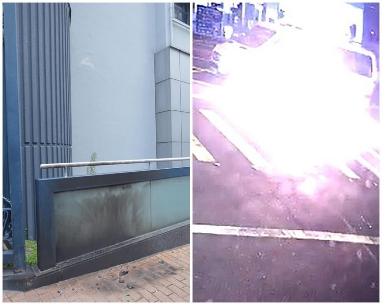 湾仔总部外警车及跑马地警署被人掷汽油弹。 资料图片