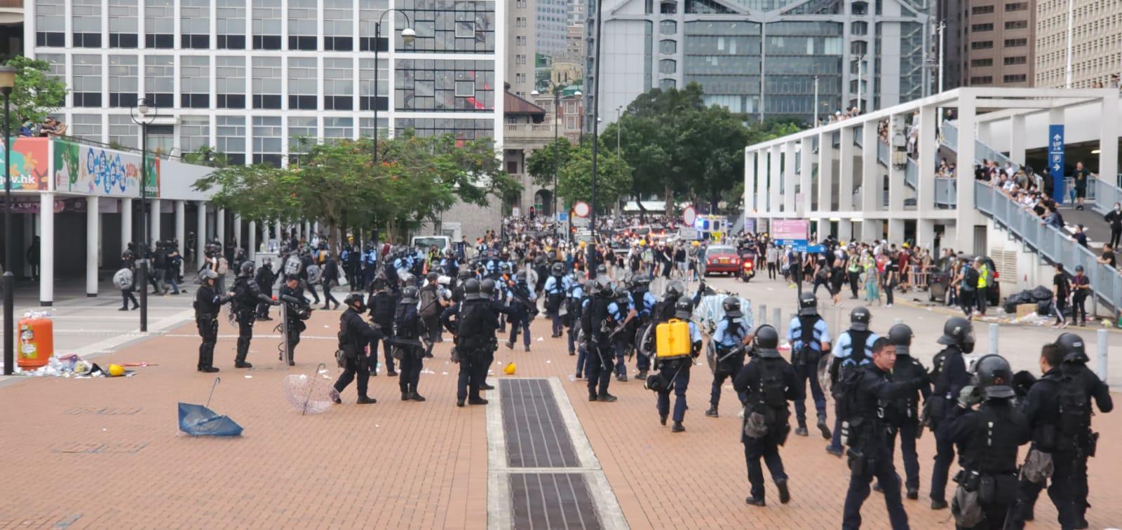 事發於周三的反修例警民衝突中。