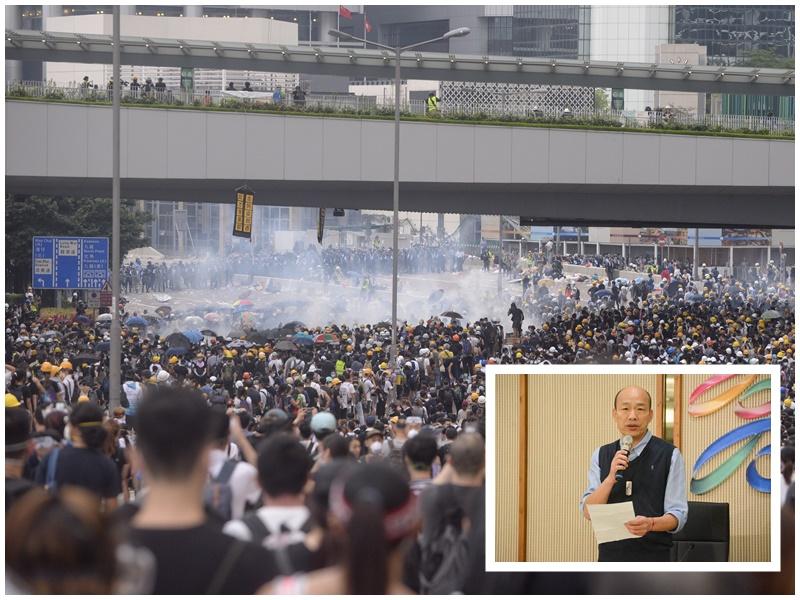 韓國瑜(小圖)肯定港府推遲修例立法。資料圖片/網圖