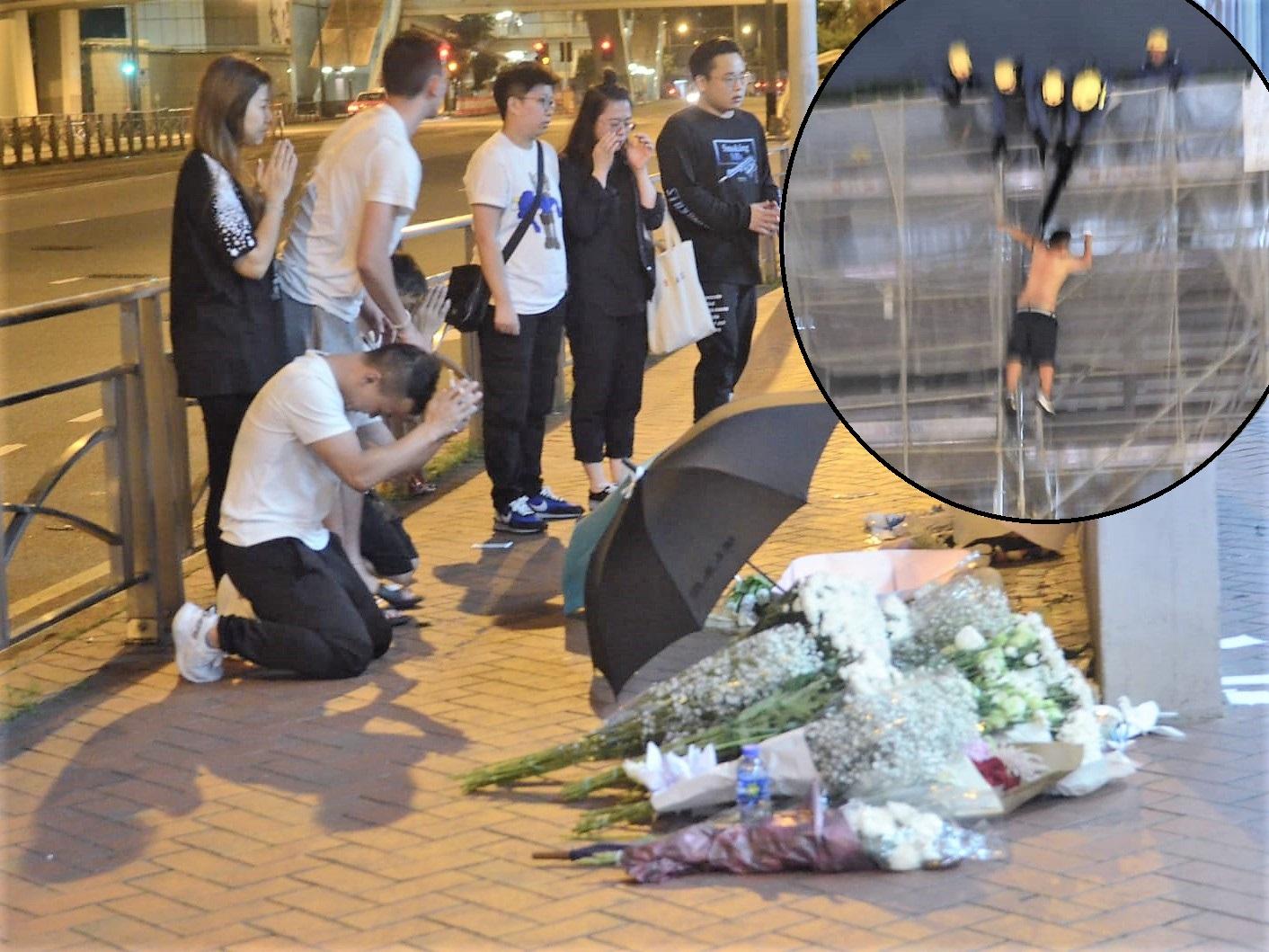 有市民带同白花到现场悼念。小图为堕楼一刻。