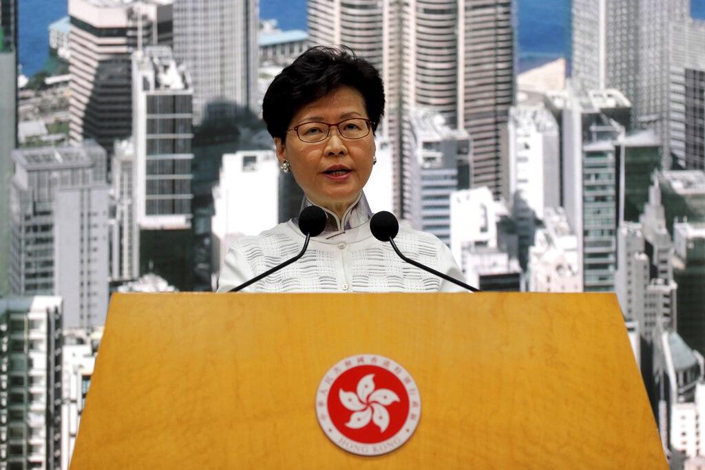 林鄭月娥解釋因為台灣已表明不會接受在現有修例情況下移交疑犯,迫切性已不存在。AP圖片