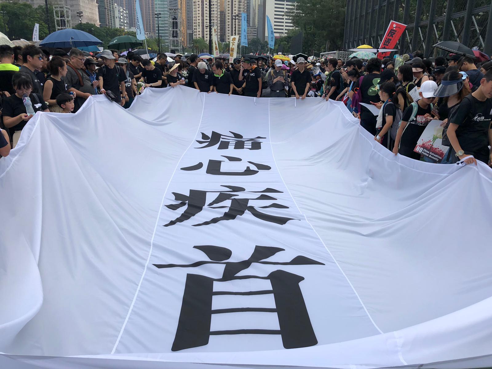 遊行隊頭拉起「痛心疾首」白底黑字大橫幅在維園出發。
