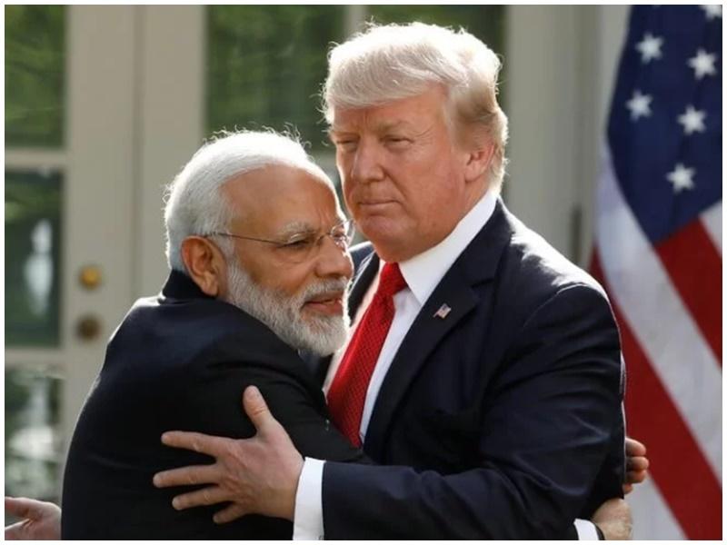 美国总统特朗普(右)、印度总理莫迪(左)。