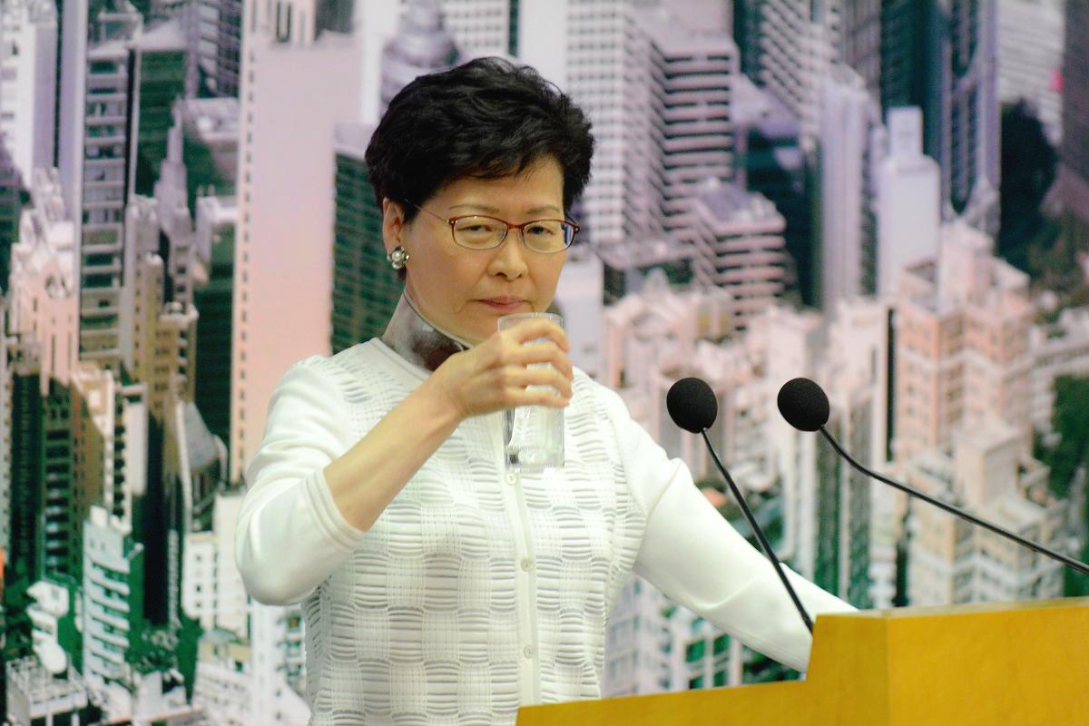 外交部駐港公署重申中央支持林鄭月娥施政。資料圖片