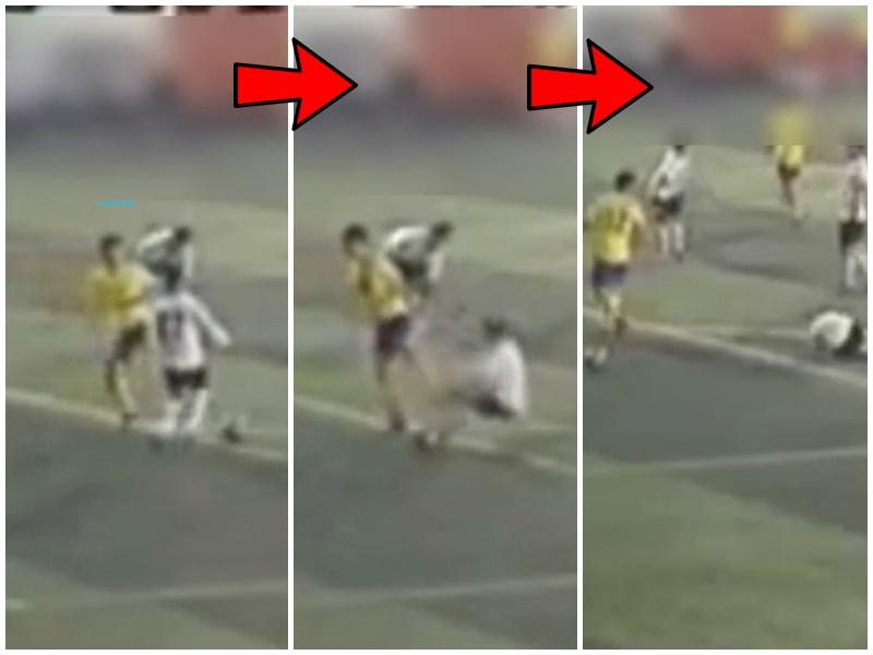 黃衣球員公然起腳踢人。影片截圖