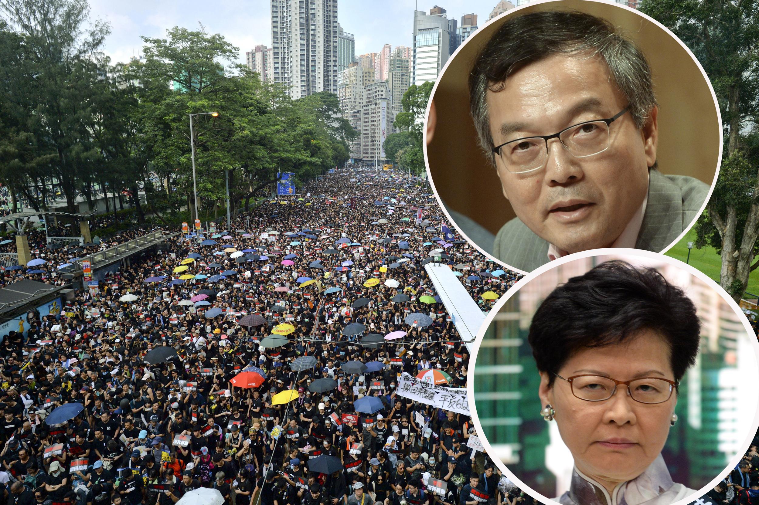 林正財(上小圖)表示,行政長官林鄭月娥(下小圖)早於6月9日遊行前已經有歉意。 資料圖片