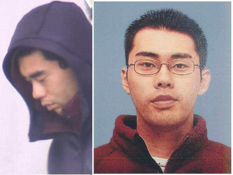 疑犯饭森裕次郎被捕(左图),饭森裕次郎资料图片(右图)。(网图)