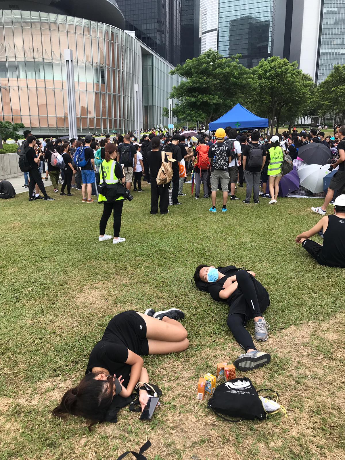 大批示威者在添馬公園。
